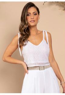 Blusa Cropped Branco Com Alças Para Laço