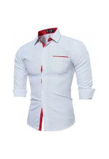 Camisa Masculina Textura De Bolinha 7676 - Branca