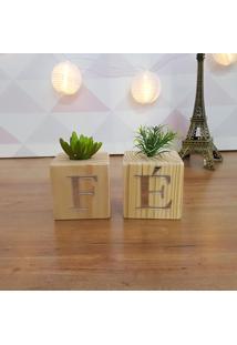 Cubo Decorativo Com Suculenta E Letras Em Acrílico Fé
