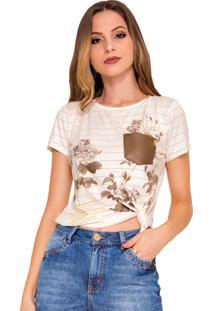 Camiseta Rosa K Delicate Stripe Marrom