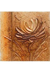 Quadro Artesanal Com Textura Rosa Marrom 30X30Cm Uniart
