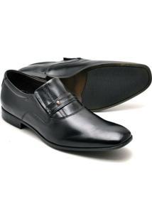 Sapato Social Reta Oposta Masculino Couro Confort - Masculino-Preto