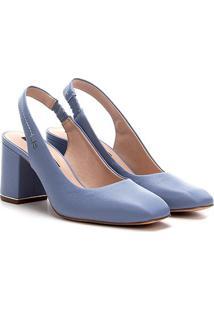 Scarpin Couro Jorge Bischoff Salto Bloco Chanel Bico Qaudrado - Feminino-Azul Claro
