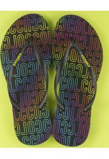 Sandália Monograma Neon Preta