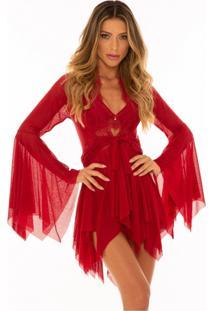 Robe M'Lev Scarlet Com Renda Vermelho Divino