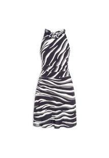 Vestido Curto Satin Zebra - Animal Print