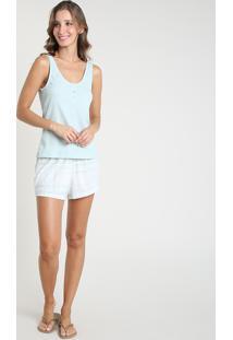 Pijama Feminino Canelado Xadrez Alça Média Verde Claro