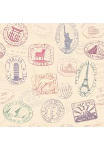 Papel De Parede Adesivo Carimbos Passaporte (0,58M X 2,50M)