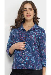 Camisa Marialicia Estampada Botões Feminina - Feminino-Marinho