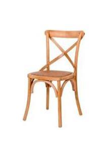 Cadeira Paris De Madeira Carvalho Americano Sem Braco Com Assento De Rattan