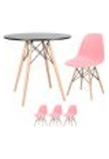 Conjunto De Mesa Eames 80 Cm Preto + 3 Cadeiras Eames Eiffel Dsw Rosa