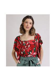 Blusa Feminina Estampada Floral Manga Ampla Decote Reto Vermelha