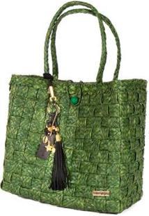 Bolsa Ana Viegas Tote-Shopper Palha Berloques Metais Passeio Feminina - Feminino-Verde