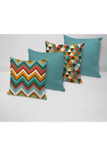 Kit 4 Almofadas Decorativas Geométricos Coloridos