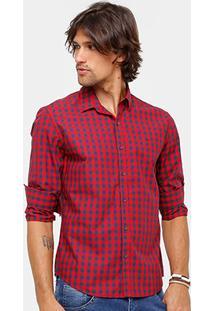 Camisa Xadrez Ellus Manga Longa Classic Fit Red Masculina - Masculino