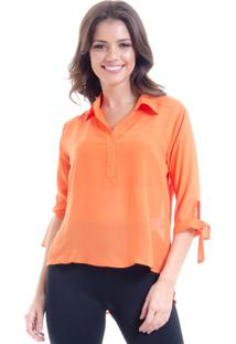 Camisa 101 Resort Wear Lisa Crepe Polo Laco Mangas 34 Laranja