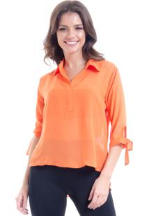 Camisa 101 Resort Wear Lisa Crepe Polo Laco Mangas 34 Laranja - Laranja - Feminino - Dafiti