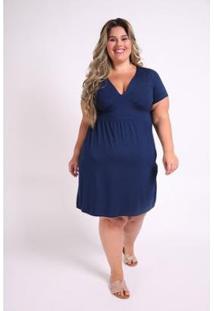 Vestido Kaue Plus Size Com Recorte Na Cintura Feminino - Feminino-Azul Petróleo