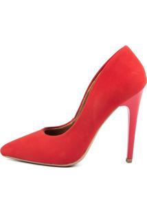 Scarpin Factor Fashion Salto Alto - Nobuck Cereja