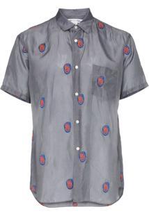 Comme Des Garçons Shirt Camisa Bordada - Cinza