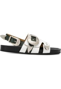 Toga Pulla Sandália Flat Com Gravação - Branco