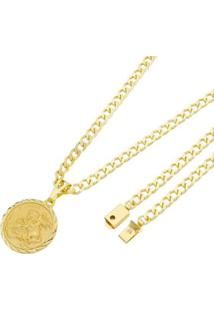 Pingente São Jorge Com Corrente Grumet Fecho Gaveta Tudo Joias Folheado A Ouro 18K - Masculino-Dourado