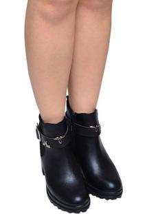 Bota Feminina Anklee Boot Solado Tratorado Ramarim Preta