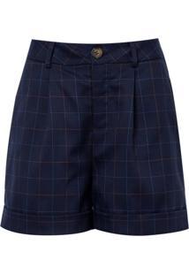 Shorts Alfaiataria Xadrez (Azul Marinho / Navy, 46)