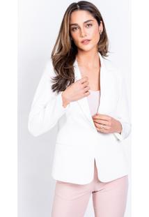 Blazer Richini Alfaiataria Crepe Off White - Off-White - Feminino - Dafiti