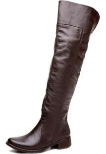 Bota Cla Cle Feminina Over The Knee Confortável Couro Marrom - Kanui