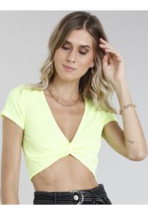 Blusa Feminina Cropped Canelada Com Nó Manga Curta Decote V Amarela Neon