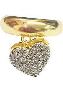 Anel Kumbayá Pingente De Coração 18K Com Cravação Em Zirconia Detalhe Em Rodio Feminino - Feminino-Dourado