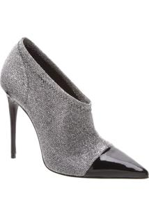 Ankle Boot Com Glitter- Prateada & Preta- Salto: 11Cschutz