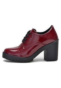 Botinha Ankle Boot Bota Salto Macshoes 5201-Vinho Verniz