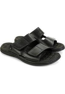 Sandália Couro Pegada Velcro Masculina - Masculino