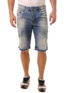 Bermuda Jeans Denuncia Middle Masculina - Masculino-Azul