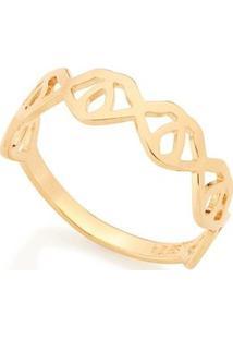 Anel Com Detalhes Geométricos Vazados Rommanel - Feminino-Dourado