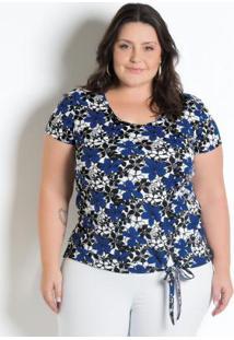 Blusa Com Amarração Plus Size Floral