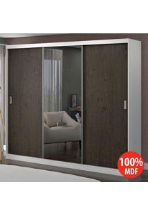 Guarda Roupa 3 Portas Com 1 Espelho 100% Mdf 1905E1 Branco/Málaga - Foscarini