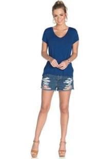 Blusa Rovitex Premium Feminina - Feminino-Azul