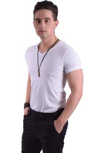 Camiseta Levok Branca Manga Curta Gola V