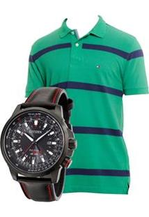Relógio Masculino Analógico Citizen Tz30713P - Preto + Camisa Polo Masculina Re Fit All M - Tommy Hilfiger