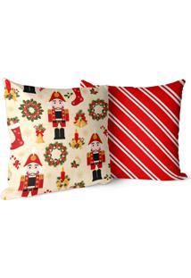 Kit 2 Capas Para Almofadas Love Decor Decorativas Quebra Nozes Bege/Vermelha