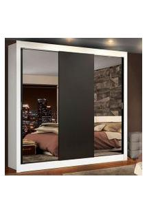 Guarda-Roupa Casal Madesa Lyon Plus 3 Portas De Correr Com Espelhos 4 Gavetas Branco/Preto Cor:Branco/Preto