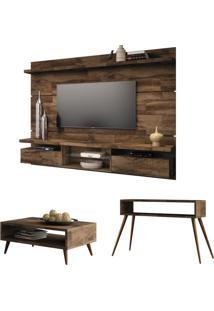 Painel Tv Livin 2.2 Com Mesa De Centro Lucy E Aparador Quad Deck - Hb Móveis