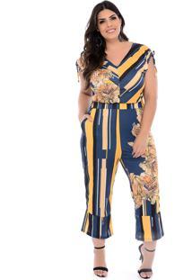 Macacão Pantacourt Plus Size Azul Fiore