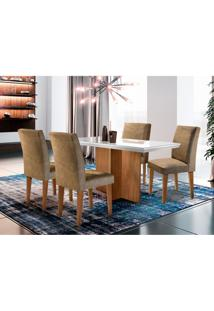 Conjunto De Mesa De Jantar Berlim I Com Tampo De Vidro Off White E 4 Cadeiras Grécia Suede Chocolate