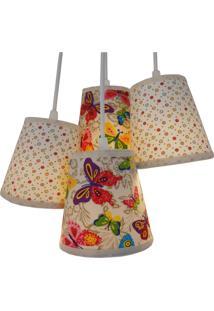 Luminária Cacho Colors 4 Cúpulas Crie Casa Colorido