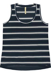 Blusa Malha Falaise Stripe Azul Marinho
