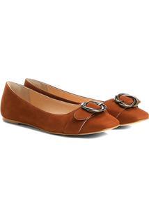 Sapatilha Couro Shoestock Fivela Torcida Feminina - Feminino-Caramelo